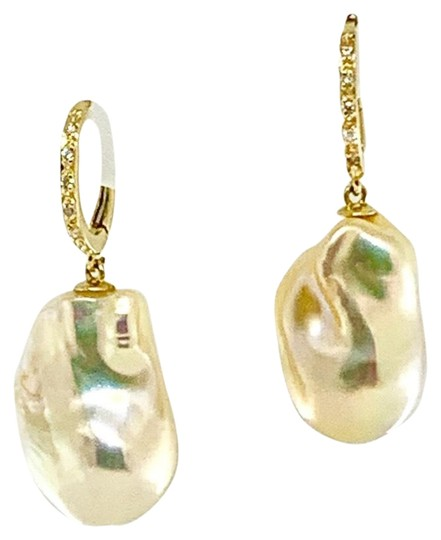 Ezra Kassin Diamond Baroque Yellow Pearl 14Kt Gold Earrings Certified 1 950 914373 Image 6
