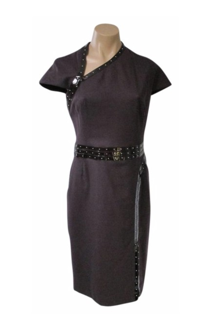 Item - Plum W Cap Sleeve W/Patent Leather + Studs Mid-length Night Out Dress Size 8 (M)