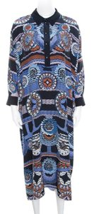 Navy Blue Maxi Dress by Peter Pilotto Silk Abstract Printed
