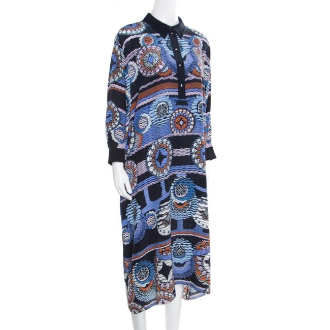 Navy Blue Maxi Dress by Peter Pilotto Silk Abstract Printed Image 1