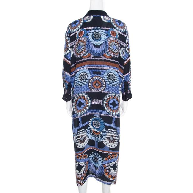 Navy Blue Maxi Dress by Peter Pilotto Silk Abstract Printed Image 2