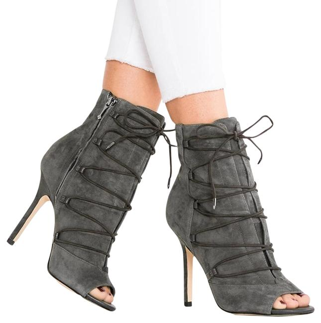 Item - Gray Asher Ghillie Suede Laceup Peeptoe Boots/Booties Size US 8 Regular (M, B)