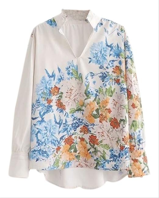 Preload https://img-static.tradesy.com/item/25845330/white-and-multi-floral-pullover-blouse-size-12-l-0-1-650-650.jpg
