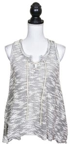 Vintage Havana Knit Sleeveless Boho Sheer Flowy Top Gray, Cream