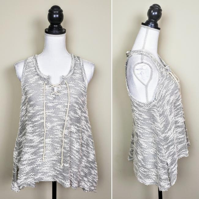 Vintage Havana Knit Sleeveless Boho Sheer Flowy Top Gray, Cream Image 1