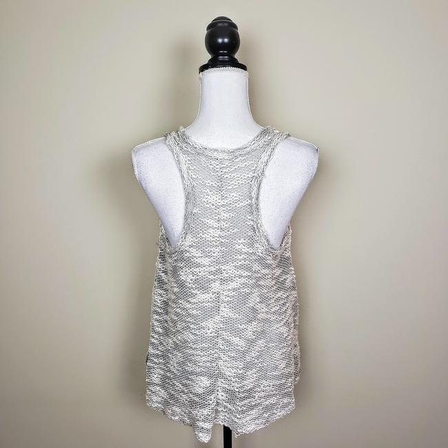 Vintage Havana Knit Sleeveless Boho Sheer Flowy Top Gray, Cream Image 3