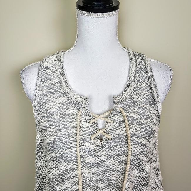 Vintage Havana Knit Sleeveless Boho Sheer Flowy Top Gray, Cream Image 4
