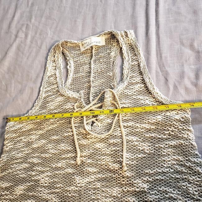 Vintage Havana Knit Sleeveless Boho Sheer Flowy Top Gray, Cream Image 8