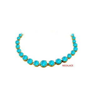 Marco B Blue Topaz Graduated Necklace 18K Yellow Gold Vermeil