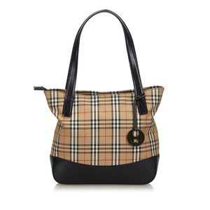 Burberry 9gbuto030 Vintage Canvas Leather Tote in Brown