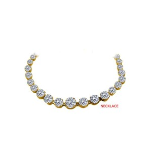 Marco B Cubic Zirconia Graduated Necklace Yellow Gold Vermeil