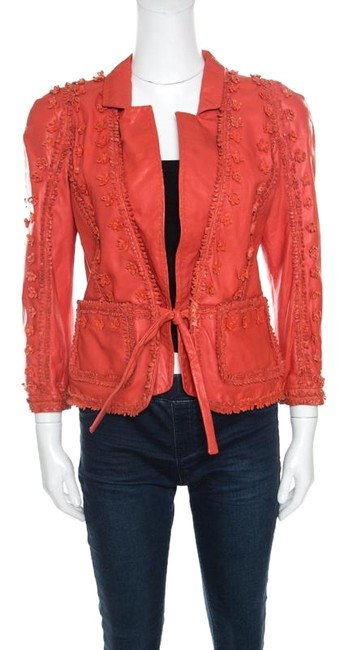 Preload https://img-static.tradesy.com/item/25845522/just-cavalli-red-floral-appliqued-leather-activewear-outerwear-size-10-m-0-1-650-650.jpg