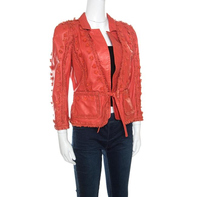 Just Cavalli Red Floral Appliqued Leather Jacket M Image 1