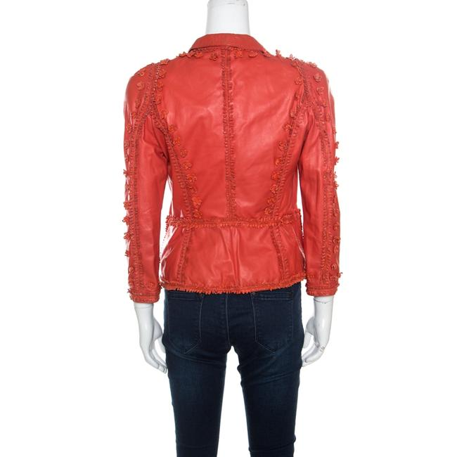 Just Cavalli Red Floral Appliqued Leather Jacket M Image 2