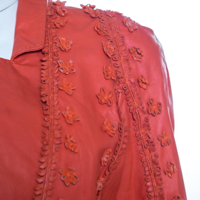 Just Cavalli Red Floral Appliqued Leather Jacket M Image 3