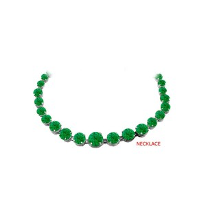 Marco B Emerald Graduated Necklace in 925 Sterling Silver