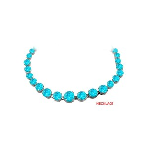 Marco B Blue Topaz Graduated Necklace in 925 Sterling Silver