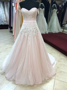 Anjolique Ice Pink Lace and Tulle Bridal Gown Casual Wedding Dress Size 6 (S)