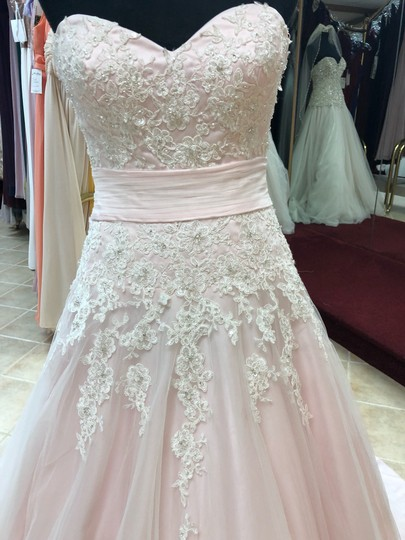 Anjolique Ice Pink Lace and Tulle Bridal Gown Casual Wedding Dress Size 6 (S) Image 1