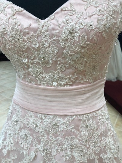 Anjolique Ice Pink Lace and Tulle Bridal Gown Casual Wedding Dress Size 6 (S) Image 2