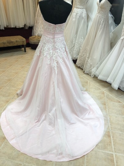 Anjolique Ice Pink Lace and Tulle Bridal Gown Casual Wedding Dress Size 6 (S) Image 3