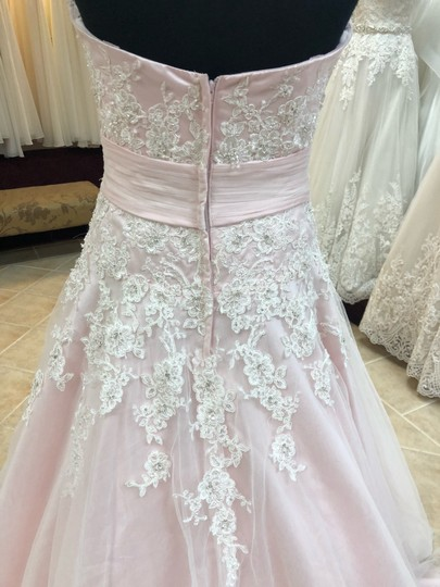 Anjolique Ice Pink Lace and Tulle Bridal Gown Casual Wedding Dress Size 6 (S) Image 4