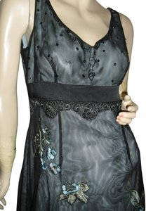 Adrianna Papell Mesh Over Embroidered Sequin Beaded 2 Layer Hemline Empire Cut Scoop Dress