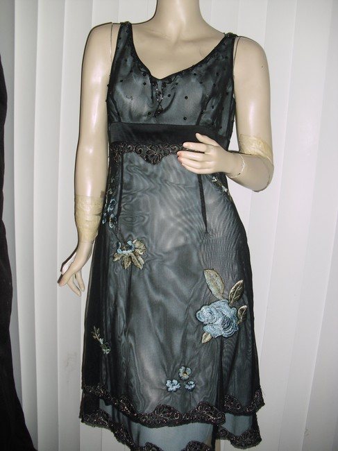 Adrianna Papell Mesh Over Embroidered Sequin Beaded 2 Layer Hemline Empire Cut Scoop Dress Image 3