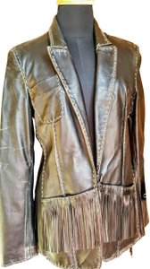 Donald J. Pliner Distressed black Leather Jacket
