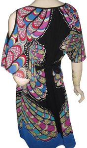 Nicole Miller Open Shoulder Scarf Print Bright Colors Turquoise Print Stained Glass Print Dress