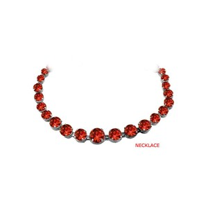 Marco B Rosy Garnet Graduated Necklace in 925 Sterling Silver