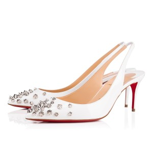 Christian Louboutin Sling Spike Patent Leather Drama Studded White/Silver Pumps