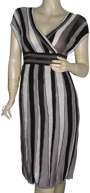 Item - Black Dark Brown Silver White Stripes Deep V Neckline Lurex Mid-length Cocktail Dress Size 8 (M)