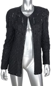 Papell Boutique Beaded Formal Black Blazer