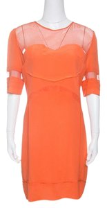 Victoria, Victoria Beckham short dress Orange Silk Mesh Cotton on Tradesy