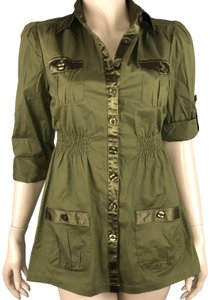Feathers Olive Button Down Tunic Roll Tab Sleeves Top Green
