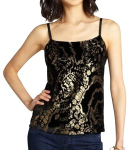 Alice + Olivia Velvet Damask Casual Classic Top Black and Gold