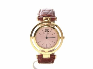 Céline Authentic Celine Marple gold tone watch with brown leather band swiss