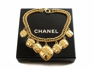 Chanel Authentic Chanel vintage Gold-tone Dangling Diamond Choker Necklace