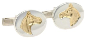 Tiffany & Co. Embossed Horse Sterling Silver & 18k Yellow Gold Oval Cufflinks