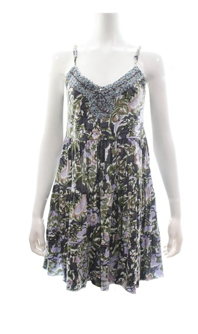 Item - Green Beaded Spaghetti Strap Abstract Print Mini Short Casual Dress Size 4 (S)