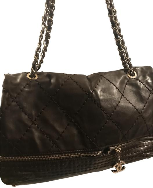 Chanel Flap with Top Handle Coco Brown Soft Leather Shoulder Bag Chanel Flap with Top Handle Coco Brown Soft Leather Shoulder Bag Image 1