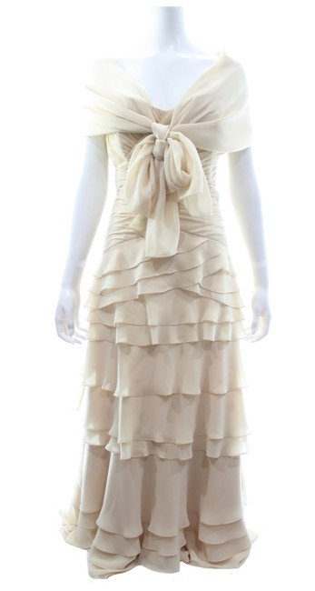 Item - Beige Strapless Multi Tiered Gown with Scarf Long Formal Dress Size 16 (XL, Plus 0x)