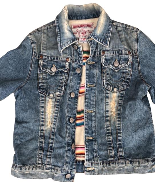 Item - Light Blue Distressed Insulated Jean Jacket Size 10 (M)