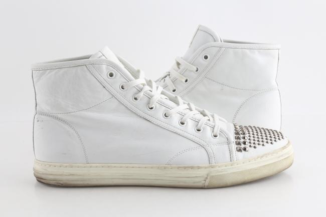 Item - White Leather Studded High Top Sneakers Shoes