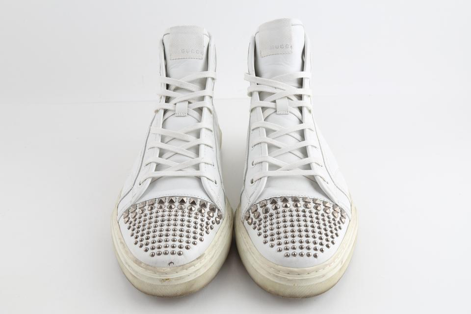 Gucci White Leather Studded High Top Sneakers Shoes 41% off retail