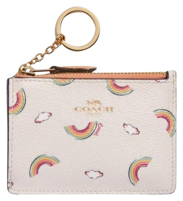 Coach Zippy Wallet Signature Cc Monogram Logo Floral Id Keychain Pouch Brown Pink Gold Canvas Leather Wristlet Tradesy