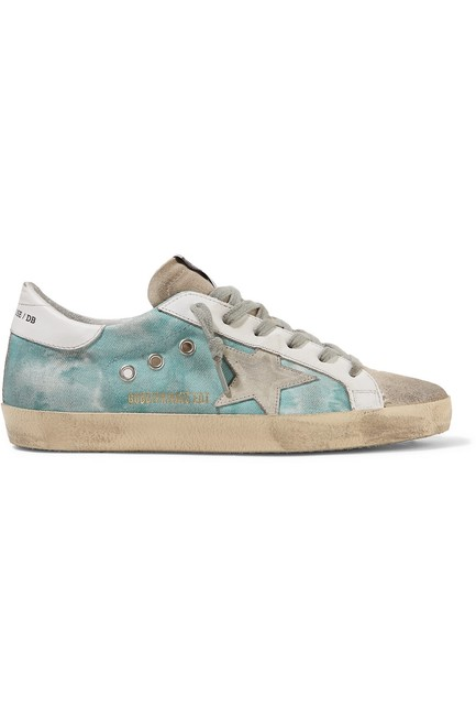 Item - Superstar Distressed Tie-dyed Distressed Canvas Leather and Suede Sne Sneakers Size EU 39 (Approx. US 9) Regular (M, B)