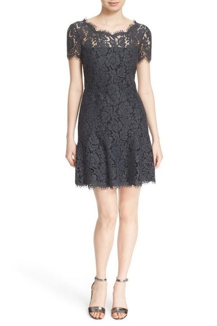 Item - Grey Dvf Fifi V-back Flounce Hem Lace Short Night Out Dress Size 12 (L)