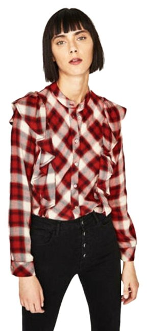 Item - Red/White Checked Frilled Shirt Long Sleeve New Button-down Top Size 2 (XS)